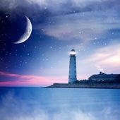 Latarnia morska w nocy — Zdjęcie stockowe