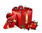 Christmas Gift Box With Balls — Stock Vector