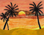 Tropical Sunset painting — Stock Photo