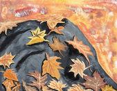 Autumn Leaves on Rock — Stock Photo