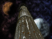 Mystical pillar with stars and planets — Stock Photo
