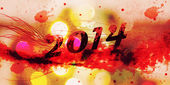 Happy New Year 2014 with grunge text — Stock Photo