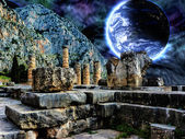 Delphi Illustration with a Blue planet in space — Stock fotografie