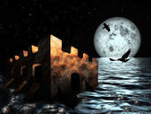Old Castle in the sea at night sky moon background — Stock Photo