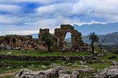 Ancient Troizina Ruins with dramatic sky, Greece — Stock Photo