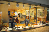 Eyeglasses showcase optician — Stok fotoğraf