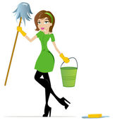 Housewife or Maid Illustration — Stock Vector