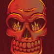 Fiery Skull with Flames — Stock Vector