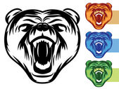 Bear Mascot Icons — Stock Vector
