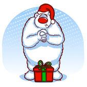 Holiday Bear wearing a Santa Hat — Stock Vector