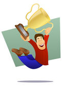 Champion Jumping with Trophy — Stock Vector