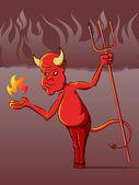 Devil in Hell Cartoon — Stock Vector