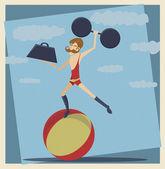 Vintage Circus Strong Man — Stock Vector