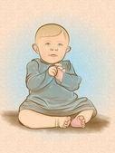 レトロな赤ちゃんイラスト — ストックベクタ