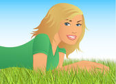 Pretty Girl Lying in the Grass — Stock Vector