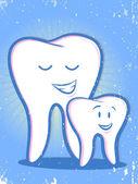 Zęby retro rodzina kreskówka — Wektor stockowy