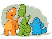 Dibujos animados dinosaurio monstruos — Vector de stock
