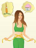 Dziewczyna utraty wagi — Wektor stockowy