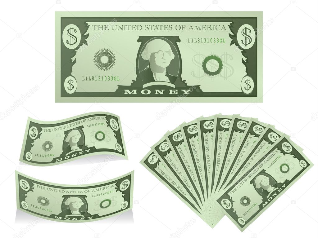 Dollar Bill Icon Set - Stock IllustrationDollar Bill Icon Vector