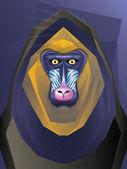 Ilustracja małpa mandril — Wektor stockowy