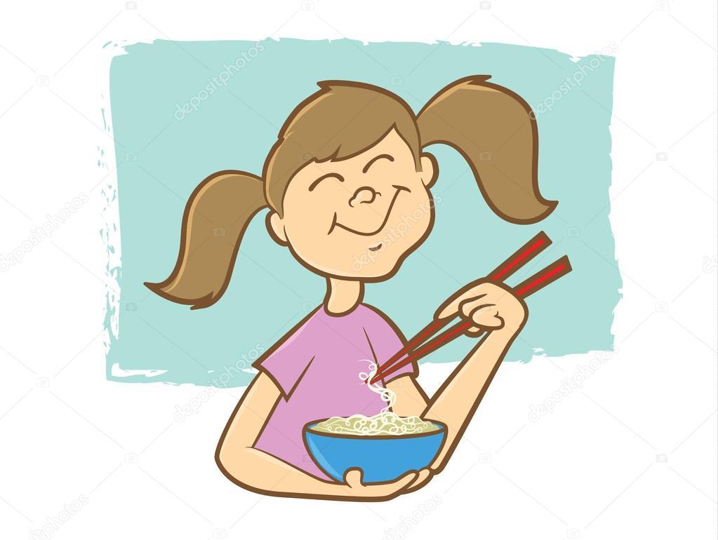 可爱的小女孩吃面条排骨枝