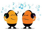 Headphone Music Cartoon — Stock Vector