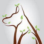 Köpek ağaç — Stok Vektör