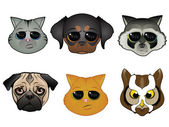 Animal Faces — Vector de stock