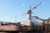 Cranes in shipyard — Stock Photo