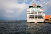 Rainbow over ship — Stock Photo