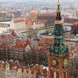 Stock Photo: Aerial view of old town in Gdansk.