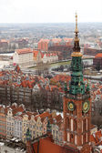 Aerial view of old town in Gdansk. — Stock Photo