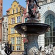 Famous Neptune fountain at Dlugi Targ square in Gdansk, Poland. — Stock Photo