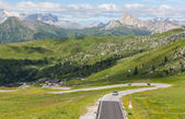 A winding mountain road in the Dolomites, Italy. — Stock Photo