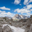 Snow in the mountains - the Dolomites summer. — Stock Photo