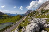 Road on the the pass Valparola - Italy. — Stock Photo