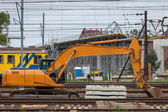 Construction of a new railway line and the viaduct over — Stock Photo