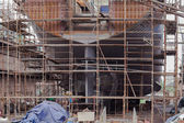 Construction of the ship in dry dock — Stock Photo