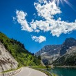 The road at the foot of Mount Marmolada - Italy. — Stock Photo