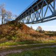 Old truss railway bridge — Stock Photo