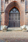 The entrance to the medieval cathedral — Stock Photo