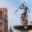 Fountain of Neptune - the old town in Gdansk, Poland — Stock Photo