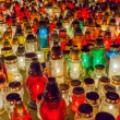 Lighted candles in the cemetery — Stock Photo