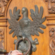 Antique door with knocker in the shape of an eagle — Stock Photo