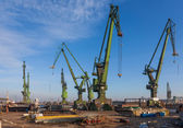 Historic cranes in Gdansk Shipyard — Stock Photo