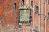 Monuments of Gdansk - Sundial on the Town Hall tower — Stock Photo