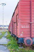 Freight wagons on a railway siding — Stock Photo