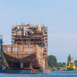 Building a ship in the Port of Gdansk — Stock Photo
