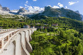 Dam in the mountains - Fedaia pass - Dolomites — Stock Photo