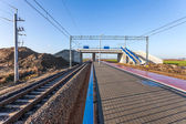 New viaduct and pedestrian crossing over the railway line — Stock Photo